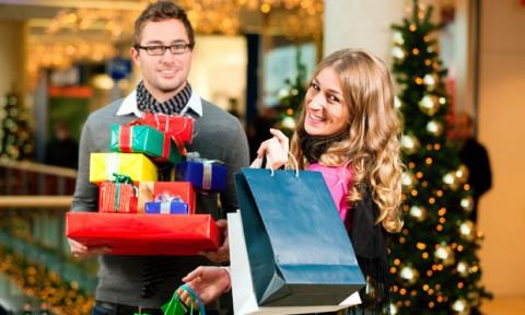 Happy Couple Christmas Shopping