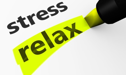 Healthy lifestyle and wellness concept with a 3d rendering of stress text and relax word highlighted with a yellow marker.