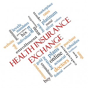 Health Insurance Exchange Word Cloud Concept for retirees angled with great terms such as silver, plans, levels, subsidies and more.